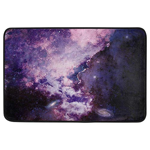 (1y2x Outer Space Collection Decorative Doormat Non Slip Washable Magic Purple Supernova Explosion with Star Welcome Indoor Outdoor Entrance Bathroom Floor Mats Home Decor 23.6 x 15.7 inch)