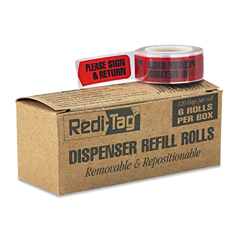 Redi-Tag Message Arrow Flag Refills, Please Sign & Return, Six Rolls of 120 Flags, Red ()