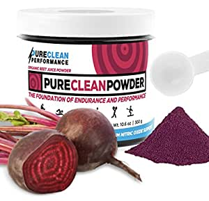 PureClean Powder - USA-Grown 100% Organic Beet Root Powder (Jar 300G) Nitric Oxide Booster -No Fillers, Sweeteners, Additives. Non-GMO Nitrate Beet Juice Powder, Super Beets Energy Powder Supplement
