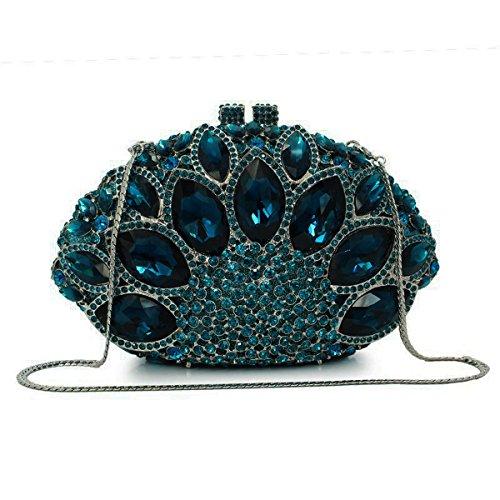 main femme précieuses embrayage Bleu soirée Champagne pierres sac mariage Flada secteur à strass forme PqfTXE4