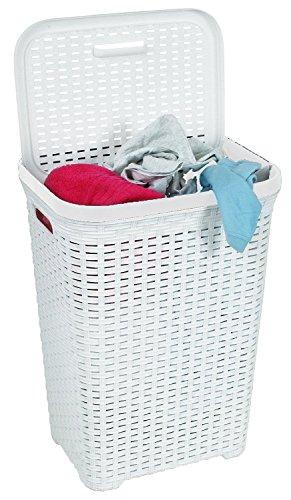 FunkyBuysLarge Rectangular WHITE Faux Rattan Laundry & Washing Basket - 50 Litres by FunkyBuys