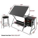 Yaheetech Adjustable Drafting Table Art & Craft Drawing Desk Art Hobby Folding w/ Stool
