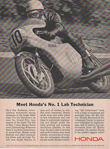 "Magazine Print Ad: 1966 Honda Motorcycle Motorbike, Racing Champion Jim Redman,""Meet Honda's No 1 Lab Technician"""