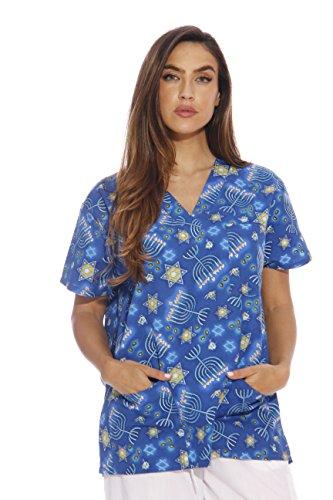 Just Love Women's Scrub Tops / Holiday Scrubs / Nursing Scrubs,Happy Hannukah,X-Small -