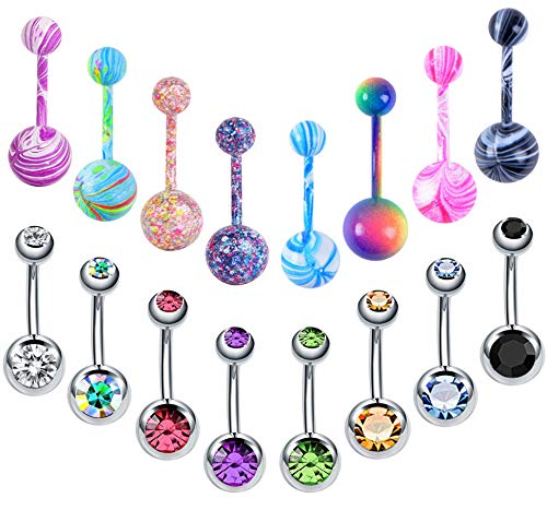 Colorful Stainless 14 Gauge - EVELICAL 16Pcs 14G Stainless Steel Belly Button Rings for Women Girls CZ Screw Navel Bars Body Piercing Jewelry