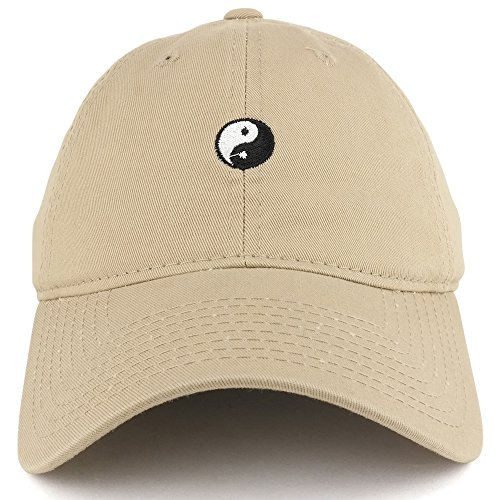(Small Yin Yang Embroidered Washed Cotton Soft Crown Adjustable Dad Hat - KHAKI)