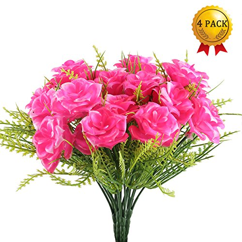 Bush Pink Flowers - Nahuaa Fake Flowers Plants 4PCS Artificial Rose Floral Bouquet Faux Plastic Boston Fern Shrubs Bushes Table Centerpieces Arrangements Home Kitchen Office Indoor Outdoor Spring Decorations Pink