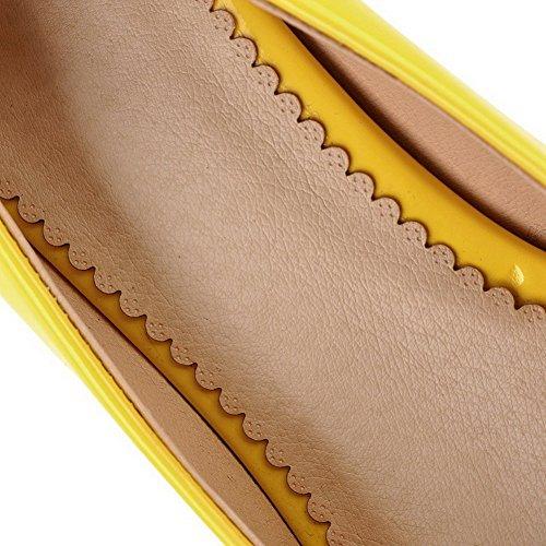AgooLar Mujeres Charol Peep Tacón ancho Sin cordones Sólido Sandalia Amarillo