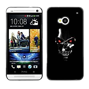 LASTONE PHONE CASE / Slim Protector Hard Shell Cover Case for HTC One M7 / Robot Skull Black Scary Movie Technology by ruishername
