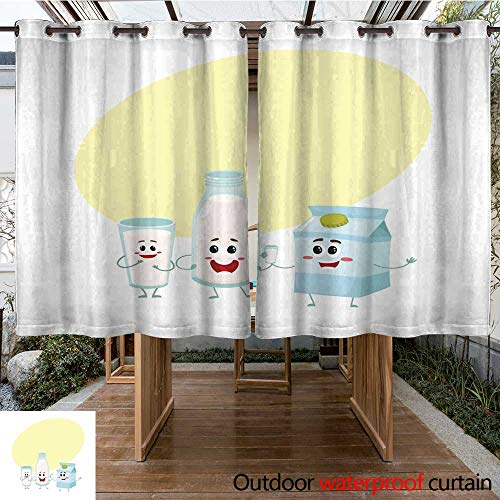 (RenteriaDecor Home Patio Outdoor Curtain Funny Milk Characters Bottle Glass Carton Box Smiling Human Faces W84 x L72)