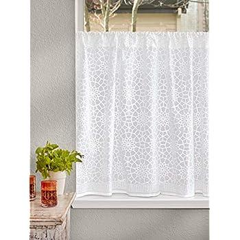 Amazon Com Saffron Marigold Sheer White Kitchen Curtains