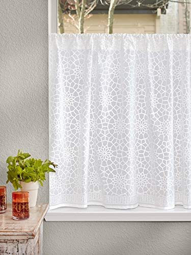 Saffron Marigold Sheer White Kitchen Curtains Royal Mansour | 46 Inch Cotton Voile Similar to Lace Vintage Floral Medallion Window Valances for Bathroom, Kitchen, Bedroom 46 x 30 ()