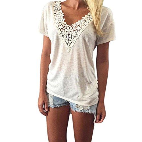 Perman Women Summer Vest Top Short Sleeve Blouse Casual Tank Tops Lace T-Shirt (S (US 4))