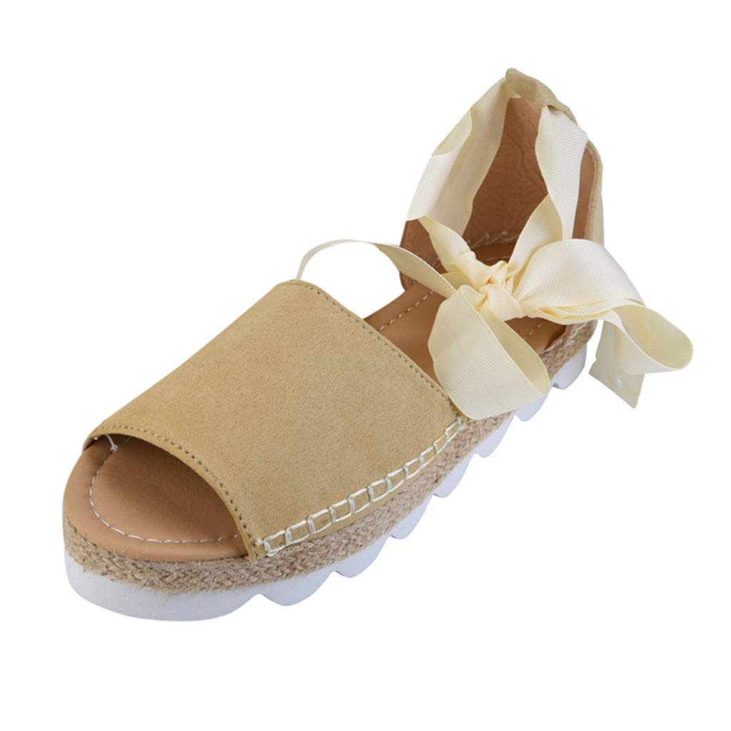 ℱLOVESOOℱ Flock Sandals for Women, Thick Bottom Cross Tied Flatform Sandals Fashion Ankle Strap Open Toe Sandals Shoes Beige by ℱLOVESOOℱ