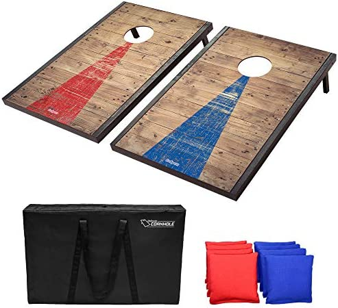 GoSports Classic Cornhole Set – Includes 8 Bean Bags, Travel Case and Game Rules (Choose between American Flag, Football, Rustic, Chevron, Wood and Classic Designs)