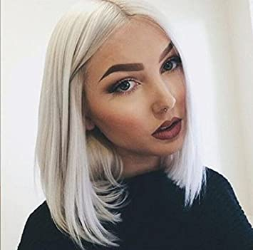 14 Silver Grey Short Straight Synthetic Lace Front Wigs Middle Parting Natural Gray Bob Hairstyle Heat