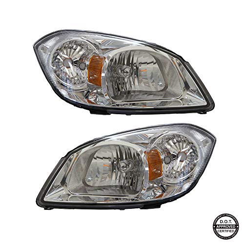 Headlights Replacement GCVCB05-A2 With Clear Lens Chrome Housing Amber Reflector For 2005-2010 Chevrolet Cobalt And 2007-2009 Pontiac G5 Headlamp New For Driver And Passenger Side 22740621 2274062 -