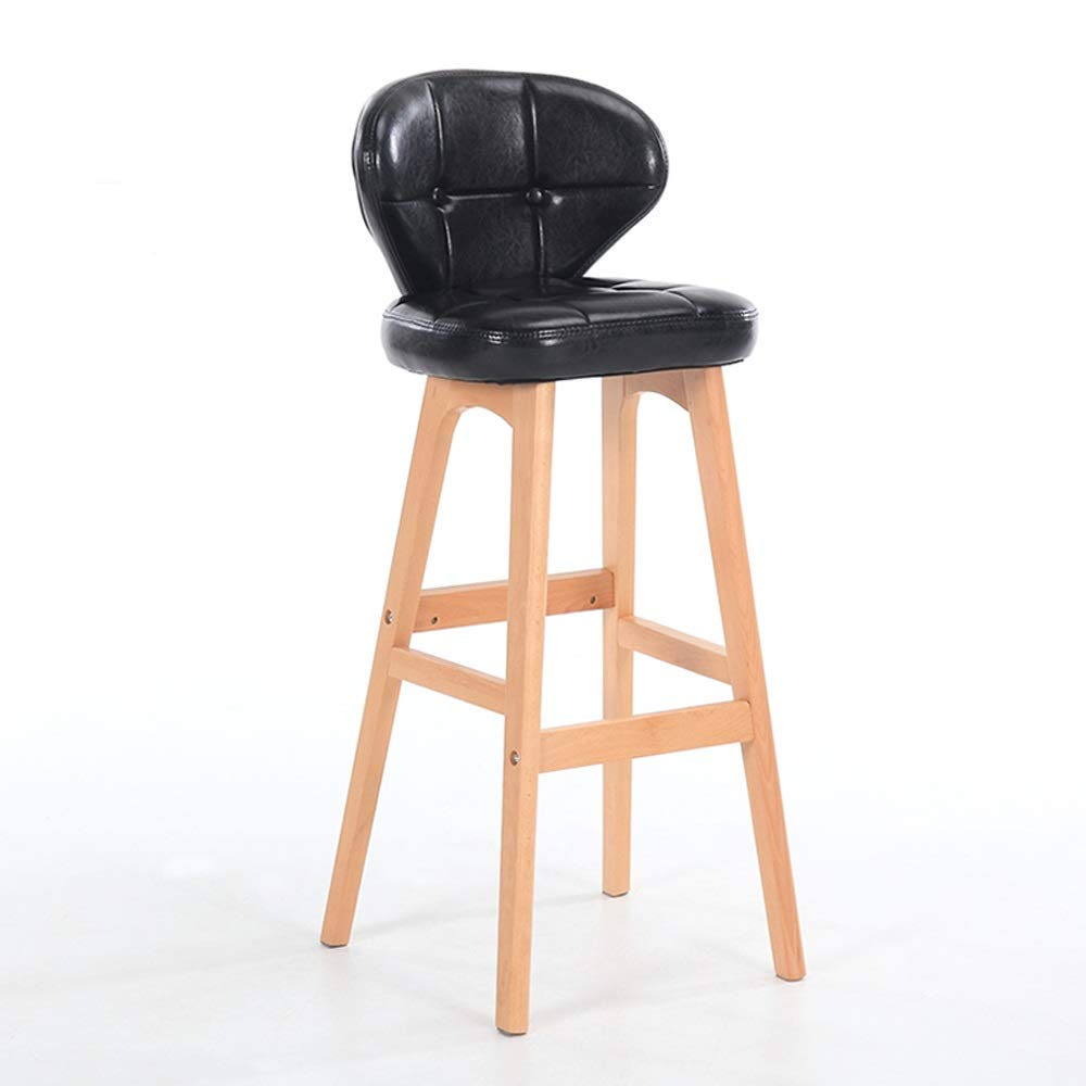 Black PU Leather high Stool Wood Art backrest bar Chair Industry bar Stool Suitable for Coffee Shop Living Room Club 78cm SUGEWANJBD (color   Brown)