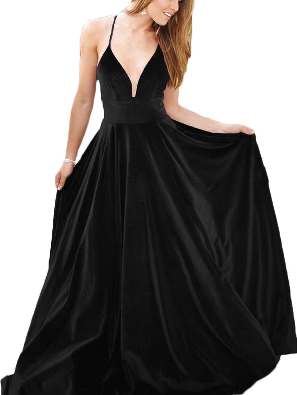 Black Ri Yun Women's Velvet Spaghetti Strap Prom Dresses Long 2019 ALine Backless Formal Evening Ball Gowns