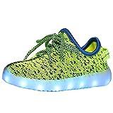 KNTOUDX Kid Boy Girl Upgraded USB Charging LED Light Sport Shoes Flashing Sneakers Slip-on Lace-up Black US3