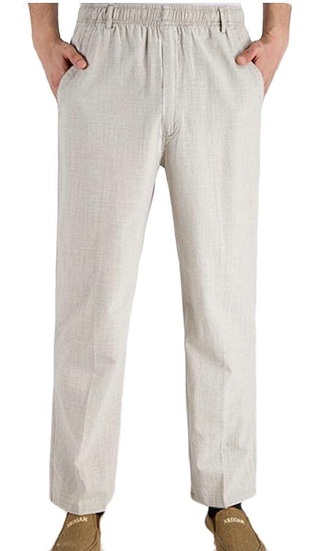 Keaac Mens Seniors Solid Loose Fit Elastic Casual Pants