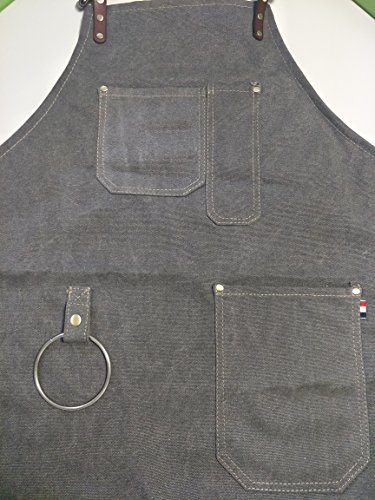 Heavy Duty Gray Waxed Canvas Work Apron With Pockets For Man (31 by 23.62inch) by Luchuan (Image #2)