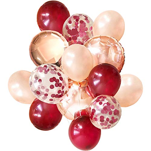 Confetti Balloons | Large Foil Balloons, Confetti Pre Filled | Elegant Latex Party Balloons for Weddings, Birthdays, Bridal Showers (Wine Red)