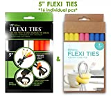 UT Wire 5'' Flexi Ties Cable Wrap - (Orange/Gray/Black/Yellow/Pink/Blue) - 16 Count