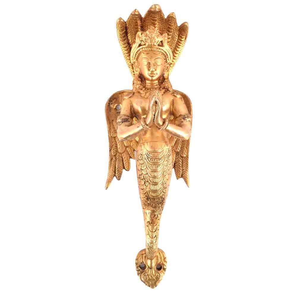IndianShelf Set of 3 Handmade Handcrafted Artistic Brass Bronze Golden Serpent Naga Pulls Handles Door Cabinet Drawer Wardrobe Cupboard Indian