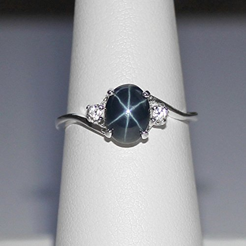 Very Amazon.com: Genuine Blue Star Sapphire Sterling Silver Ring with  WV48