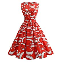 Sunny Fashion Girls Dress, COOL99 Women Christmas Print Pin Up Swing Party Panel Dress (Red, X-Large)