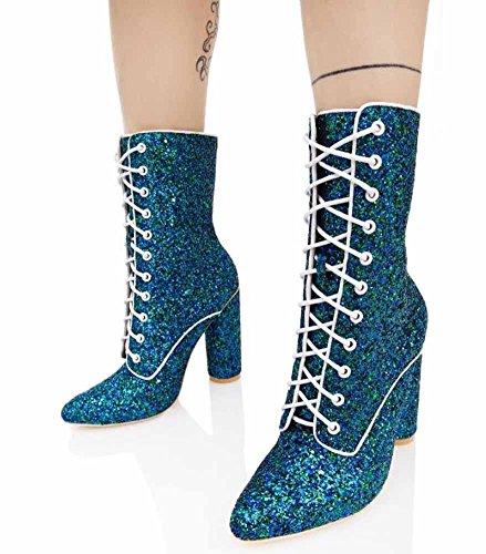 Mujeres de GLTER Martin botas tacón Boots de Cross alto de Invierno moda lentejuelas Nuevo Casual 2017 Botas Blue cinturón Otoño 1qwTCw