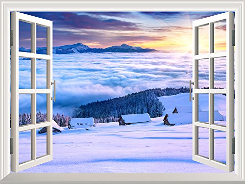 Removable Wall Sticker Wall Mural Snow Landscape on Mountain Top with a Sea of Clouds Creative Window View Wall Decor