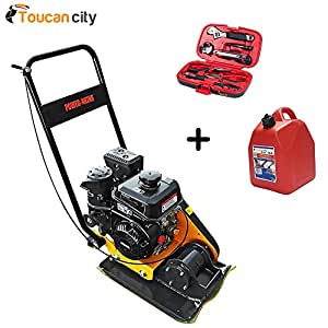 Power King 24.5 in. x 16.5 in. 6 HP Plate Compactor with Rubber Pad and Movement Trolley PK0204 and Toucan City Tool kit (9 – piece) & Gas Can