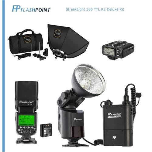 Flashpoint StreakLight 360 Ws Deluxe Flash TTL R2 Kit for Nikon - Kit Includes: BP-960 Power Pack, Zoom Li-on R2 Flash, R2 Transmitter and Glow 24