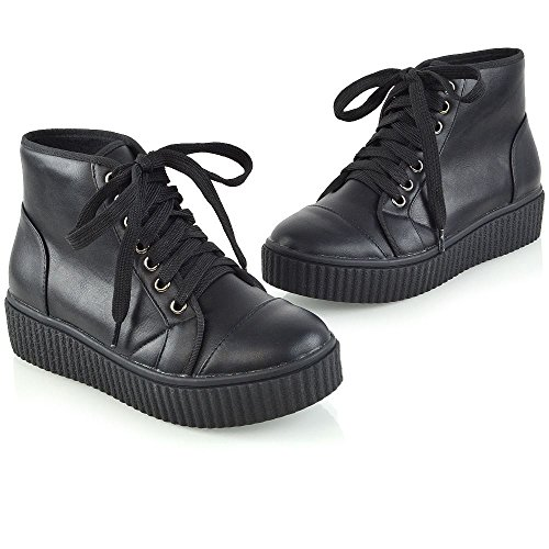 Platform Womens Combat Ankle Synthetic Wedge GLAM Lace Black Boots Up Ladies Booties Leather ESSEX 5wqISxW