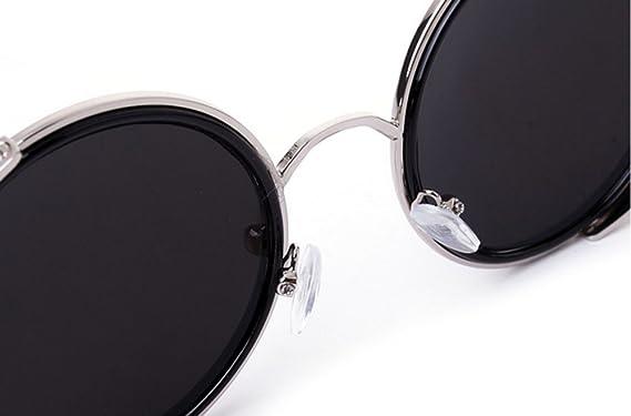 Keephen Vintage Steampunk non-polarisé Hippie Round Frame lunettes de soleil rétro réfléchissant couleur Film 8ATWj2