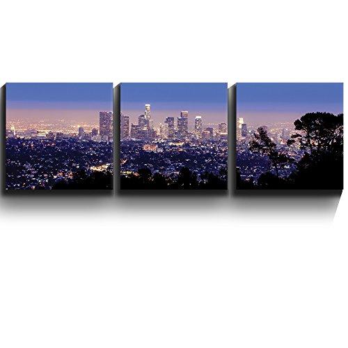 Los Angeles Skyline Evening Wall Decor x3 Panels