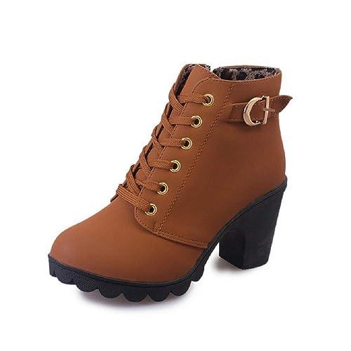 Botas Mujer Tacon Cordones Encaje hasta el Tobillo Hebilla Pelaje Invierno Otoño Zapatos Casual Zapatillas Negro Rojo Ejercito Verde 35-41: Amazon.es: ...
