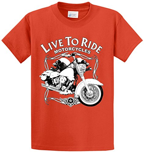 Ride Heavyweight T-shirt (LIVE TO RIDE MOTORCYCLES PRINTED TEE SHIRT - ORANGE 3XT)