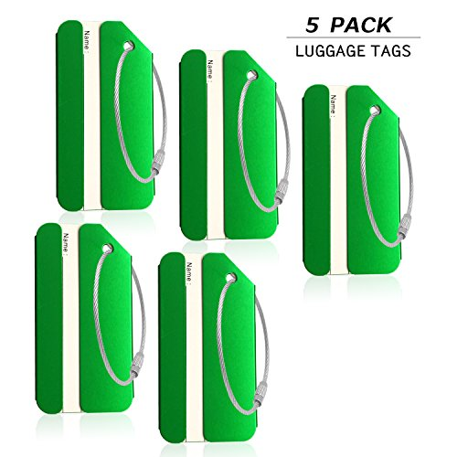 5PACK Green Aluminum Luggage Tags Holders for Travel Luggage Baggage Identifier By CPACC