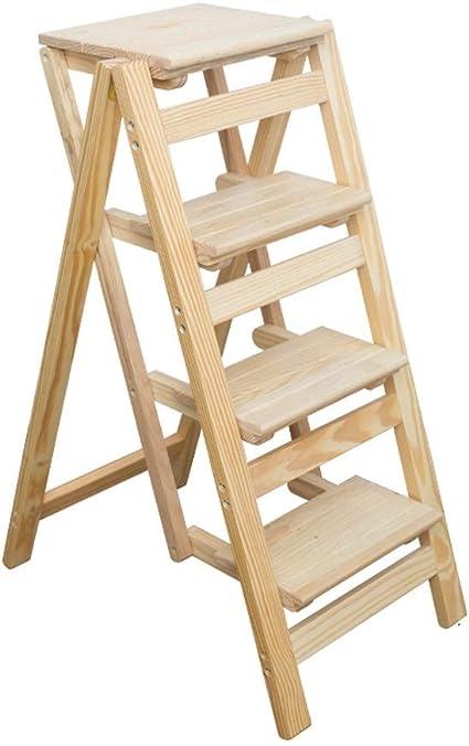 Escalera multifunción, marco de madera, 2 escalones, 3 peldaños, 4 escalones, taburete plegable, escalera de pie para cuarto de baño o balcón, soporte de madera maciza estable: Amazon.es: Oficina y papelería