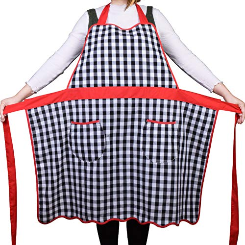 - Love Potato 100% Cotton Vintage Gingham Kitchen Apron with Two Pockets, Small to Plus Size Ladies, Great Gift for Wife or Ladies