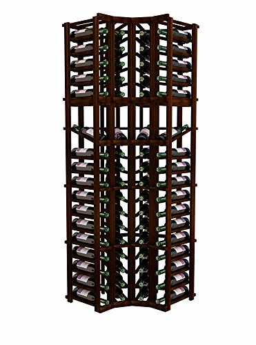 Wine Cellar Innovations Designer Series Wine Rack - Curved Corner with Display - 6 Ft - Premium Redwood Dark Walnut Stain - No Lacquer