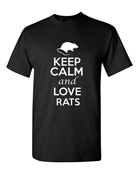 Keep Calm And Love Rats Rodents Novelty Statement Unisex Adult T-Shirt Tee  (4X