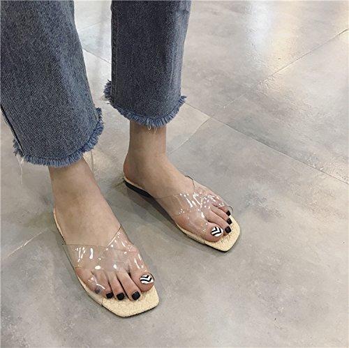 @Sandals Neue Koreanische Version Transparente Glas - Kreuz Am Platz Kopf Geflochtenen Sole Die Print - Pantoffeln Flachen Boden Kalt Sein.