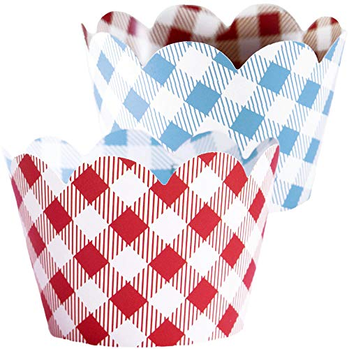 Red Checkered Cupcake Wrappers - 36 | Farm Animals Birthday Party Supplies, I Do BBQ Decorations, Baby Q Shower Favor Bag Holder, Country Western Themed Cup Cakes, Cowboy B-Day, Blue -