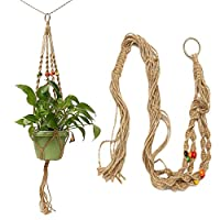 Garden Pots & Planters 42 Inch Colour Bead Flowerpot Plant Hanger Macrame Jute Rope Garden Decorative Cord with Hook
