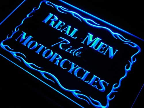 ADVPRO Real Men Ride Motorcycles Decor LED Neon Sign White 24 x 16 Inches st4s64-j982-w