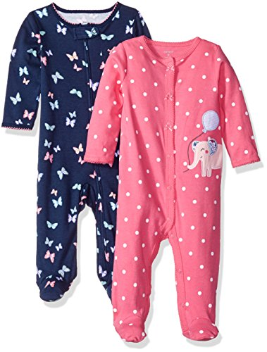 carters-girls-2-pack-cotton-sleep-and-play-navy-floral-pink-dot-3-months